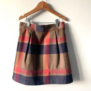 Lands' End Wool Plaid Short Pleated Skirt  Sz 7